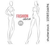 woman's figure sketch.... | Shutterstock .eps vector #1058516696