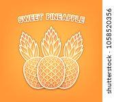 sweet pineapple background.... | Shutterstock .eps vector #1058520356