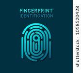 blue fingerprint identification ... | Shutterstock .eps vector #1058520428