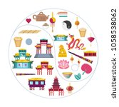 chinese culture set icons | Shutterstock .eps vector #1058538062