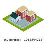 isometric group of houses   Shutterstock .eps vector #1058544218