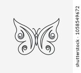 butterfly thin line icon. black ... | Shutterstock .eps vector #1058549672