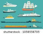 set of isolated industrial tugs ... | Shutterstock .eps vector #1058558705