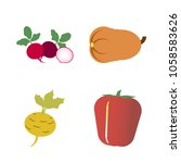 vegetables icon set with 4... | Shutterstock .eps vector #1058583626