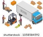 warehouse isometric set... | Shutterstock .eps vector #1058584592