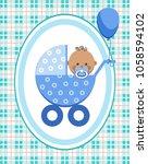 a little boy in a blue stroller.... | Shutterstock .eps vector #1058594102