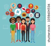 young people and social media | Shutterstock .eps vector #1058604536