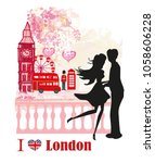 romantic couple in london  card | Shutterstock . vector #1058606228