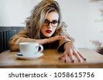 beautiful fashion stylish girl... | Shutterstock . vector #1058615756