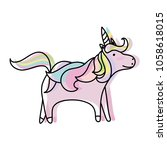 moved color pretty unicorn with ... | Shutterstock .eps vector #1058618015
