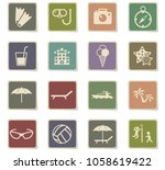 beach vector icons for web and... | Shutterstock .eps vector #1058619422