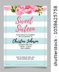 sweet sixteen party vector... | Shutterstock .eps vector #1058625758