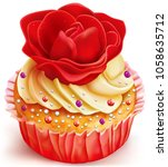 cupcake with red rose decorated ...   Shutterstock .eps vector #1058635712