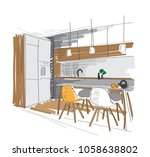 kitchen dining room sketch.... | Shutterstock .eps vector #1058638802