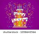birthday cake with burning... | Shutterstock .eps vector #1058643566
