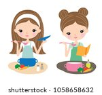 pretty young woman cooking food ... | Shutterstock .eps vector #1058658632