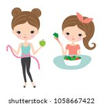 pretty woman on a diet and... | Shutterstock .eps vector #1058667422