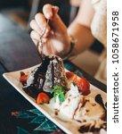 chocolate fondan lava cake... | Shutterstock . vector #1058671958