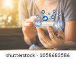 social network sharing and...   Shutterstock . vector #1058683586