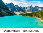turquoise beauty of moraine... | Shutterstock . vector #1058688902