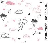a hand drawn seamless pattern... | Shutterstock .eps vector #1058716682