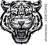saber toothed tiger tattoo  | Shutterstock .eps vector #1058722952