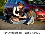 young girl masures man's pulse... | Shutterstock . vector #105872432