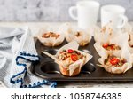 savoury potato muffins with... | Shutterstock . vector #1058746385
