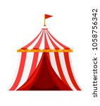 red circus tent with flag.... | Shutterstock .eps vector #1058756342