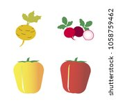 vegetables icon set with 4... | Shutterstock .eps vector #1058759462