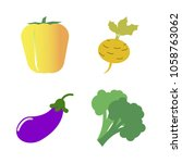 vegetables icon set with 4... | Shutterstock .eps vector #1058763062