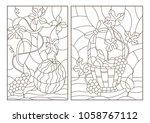 set of outline illustrations in ... | Shutterstock .eps vector #1058767112