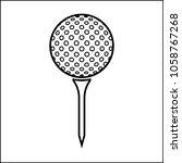 golf ball on tee icon raster... | Shutterstock . vector #1058767268