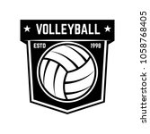 emblem template with volleyball ... | Shutterstock .eps vector #1058768405