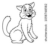 coloring book outlined cat | Shutterstock .eps vector #1058768582