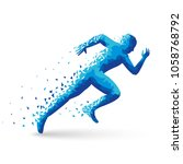 polygonal athlete sprinter ... | Shutterstock .eps vector #1058768792
