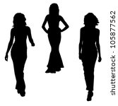 fashion girls silhouettes | Shutterstock .eps vector #105877562