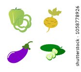 vegetables icon set with 4... | Shutterstock .eps vector #1058778926