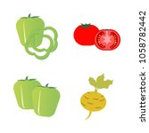 vegetables icon set with 4... | Shutterstock .eps vector #1058782442