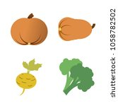 vegetables icon set with 4... | Shutterstock .eps vector #1058782502