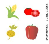 vegetables icon set with 4... | Shutterstock .eps vector #1058782556