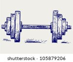 Sketch dumbbell weight - stock vector
