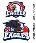 eagle mascot in set | Shutterstock .eps vector #1058793905