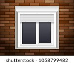 windows with rolling shutters... | Shutterstock .eps vector #1058799482