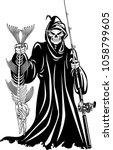 grim reaper holding caught fish ... | Shutterstock .eps vector #1058799605