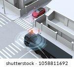 semi truck detected car in one... | Shutterstock . vector #1058811692