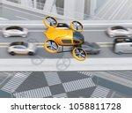 Yellow Passenger Drone Flying...