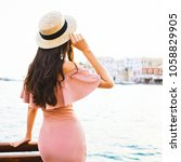 beautiful brunette young woman... | Shutterstock . vector #1058829905