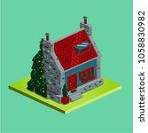 isometric vector village house. ... | Shutterstock .eps vector #1058830982