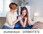 homosexual couple of lesbian... | Shutterstock . vector #1058837372